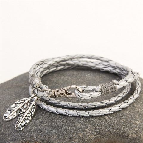 Feather Charm Leather Bracelet