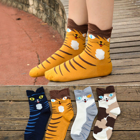 Cartoon Cat Faces Socks