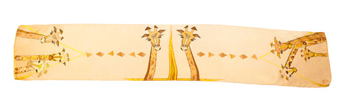 Men Beige Giraffes - Long Scarf