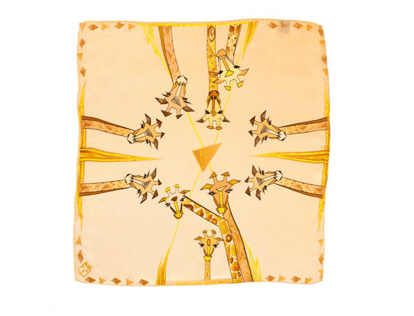 Women Beige Giraffes - Pocket Square Scarf