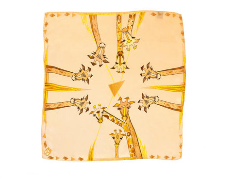 Men Beige Giraffes - Pocket Square Scarf