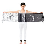 Women Black and White Lipizzan Horses - Long Scarf