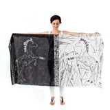 Women Black and White Lipizzan Horses - Oversized Scarf