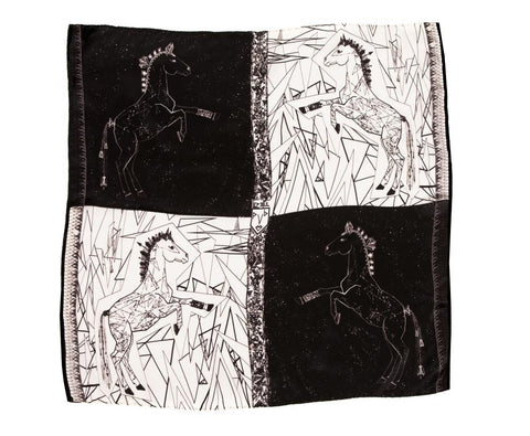 Men Black and White Lipizzan Horses - Pocket Square Scarf