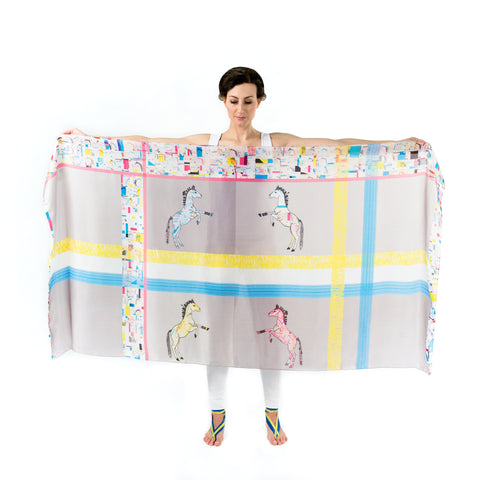 Women Colourful Check Lipizzans Horses - Oversized Scarf