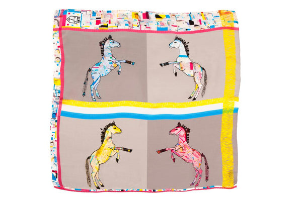 Kids Colourful Check Lipizzan Horses - Square Scarf