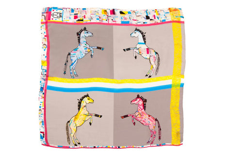 Women Colourful Check Lipizzan Horses - Pocket Square Scarf