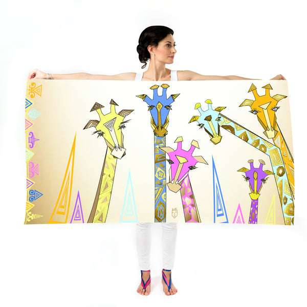 Women Colourful Giraffes - Oversized Scarf