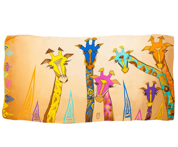 Men Colourful Giraffes - Oversized Scarf