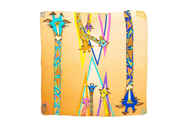 Women Colourful Giraffes - Square Scarf