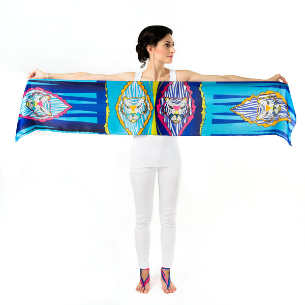 Women Colourful Tigers - Long Scarf