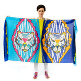 Women Colourful Tigers - Oversized Scarf
