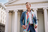 Men Colourful Rays - Pocket Square Scarf