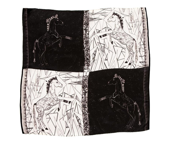 Women Black and White Lipizzan Horses - Pocket Square Scarf