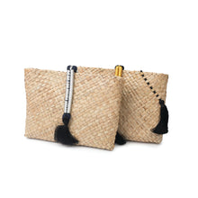 Two gold and silver hand made, natural, hand-woven 'Saaf' (palm fronds) clutch bags