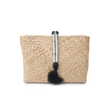 A silver hand made, natural, hand-woven 'Saaf' (palm fronds) clutch bag