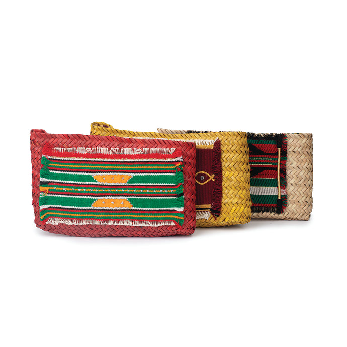 Group of natural, handmade clutches with original traditional Sadu pieces