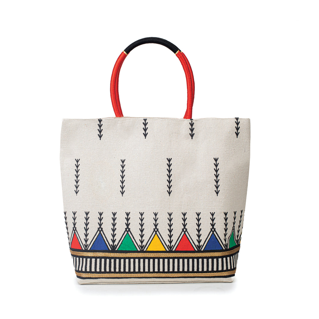 front view of traditionally patterned beach bag