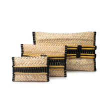 Group of hand-woven palm frond tissue boxes in three sizes, decorated with traditional Saudi Iqal (men's traditional headwear)
