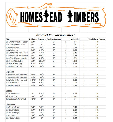 Homestead Timbers Conversion Chart