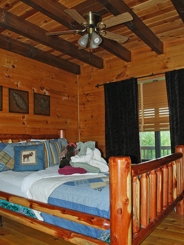 log home guest room before