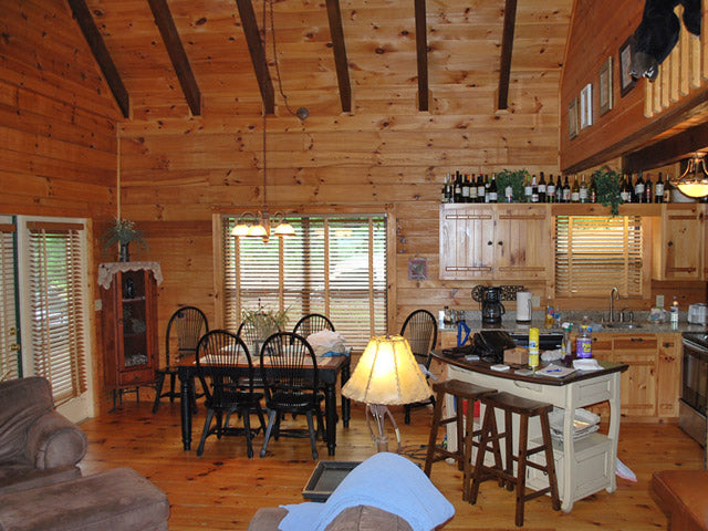 log home int kitchen before