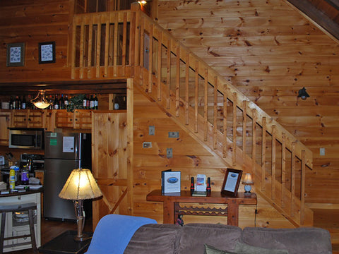 Log home interior stairs