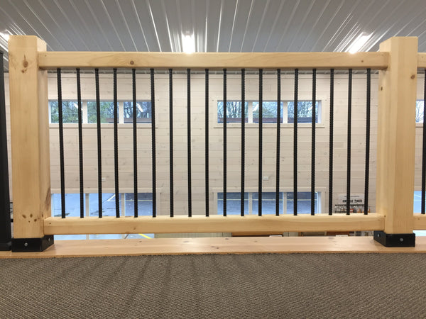 White Pine Timber Frame Railing Section with Rebar Spindles - 8'