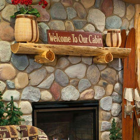 Saddle Notched Half Log w/Corbels and Mounting Brackets - Red Pine