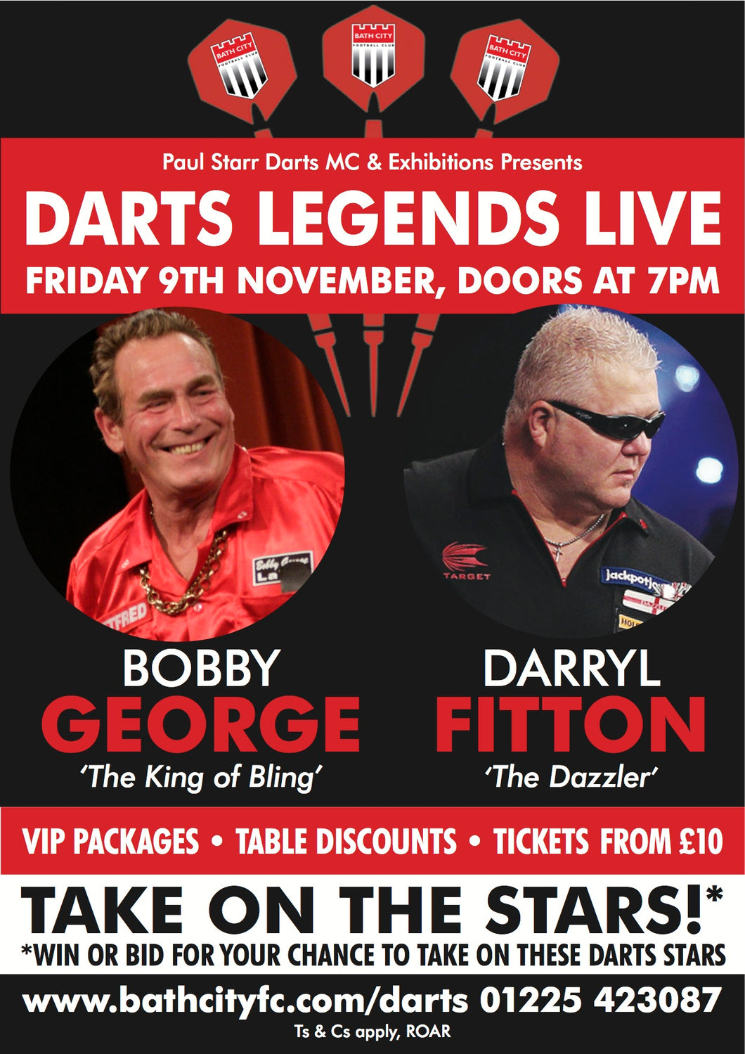 Darts Legends Live at Bath City - Friday 9th November 2018 ONLINE SALES NOW CLOSED - TICKETS AVAILABLE ON THE DOOR