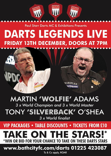 ** CANCELLED **Darts Legends Live at Bath City - Friday 13th December 2019