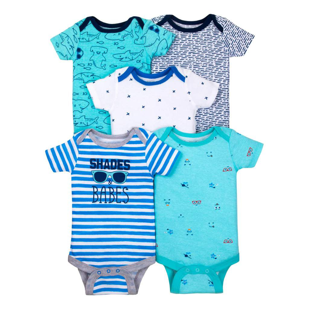 4e27b4b6f Little Star Organic Baby Boy Short Sleeve Bodysuits