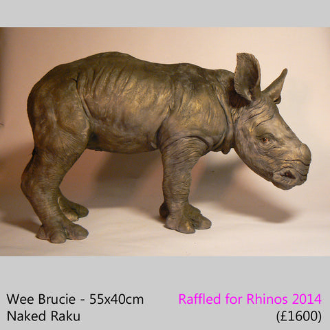 large Rhino Sculpture, baby rhino, white rhino calf sculpture
