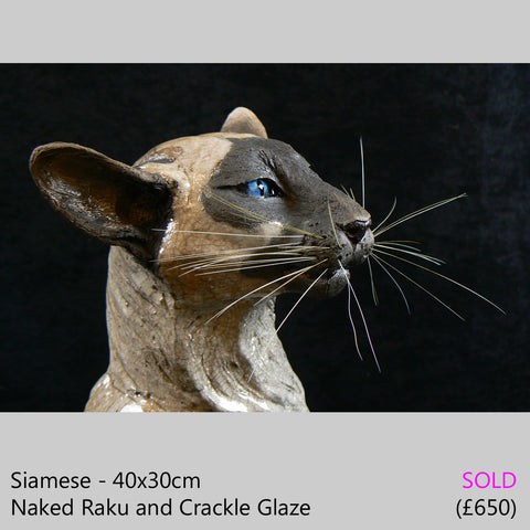Siamese cat sculpture, raku fired ceramic sculpture by Lesley D McKenzie