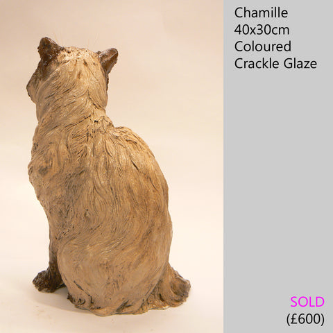 Himalayan cat sculpture, raku fired ceramic sculpture by Lesley D McKenzie