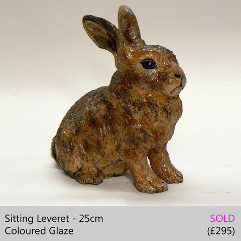 baby hare, leveret - raku fired ceramic hare sculpture by Lesley D McKenzie, art and animal sculpture