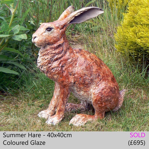 summer hare, brown hare - raku fired ceramic hare sculpture by Lesley D McKenzie, art and animal sculpture