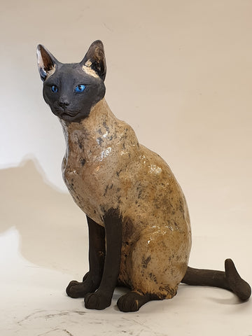 Siamese Cat Raku Sculpture