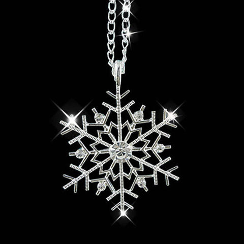 Crystal Snowflake Silver Charm Chain Necklace