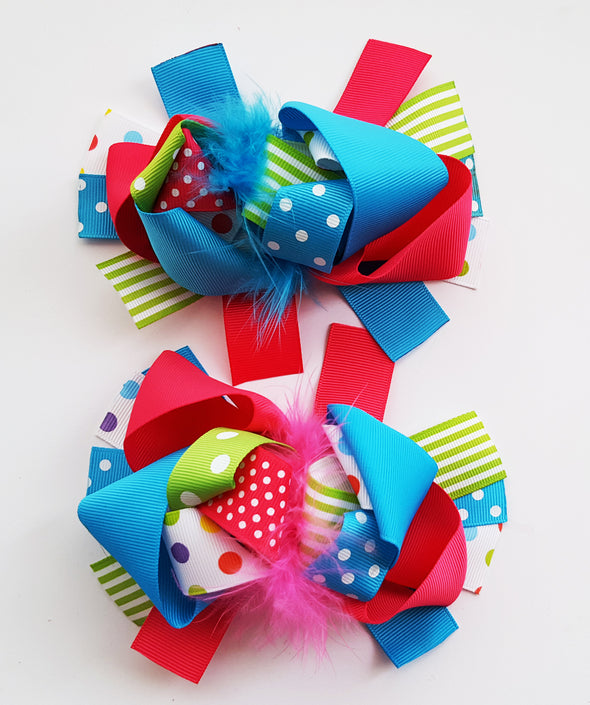 Sneaker Bows Set of 2 / Hair Bows / Hot Pink Blue