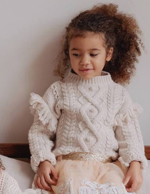 Cream Cable Knit Girls Sweater