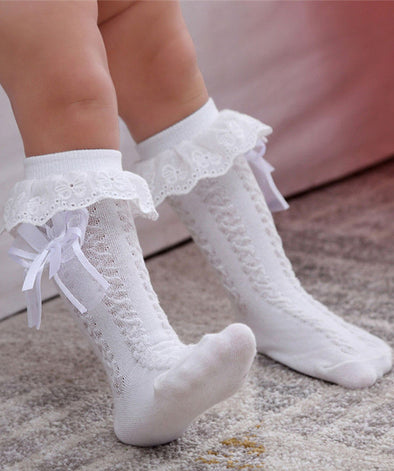 Spanish Crochet Ruffle Girls Knee Socks