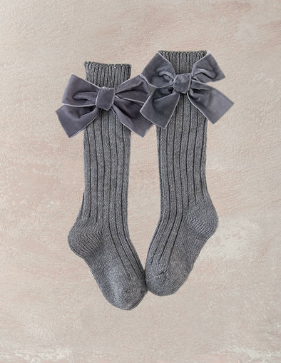 Velvet Bow Knee Socks | Gray