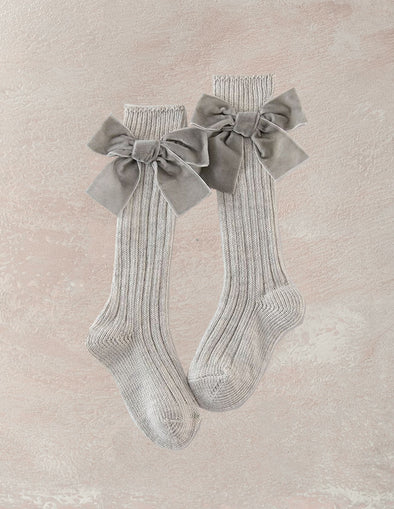 Velvet Bow Knee Socks | Oatmeal