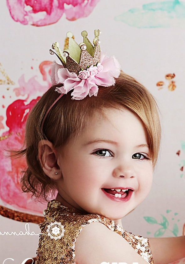 Pink Princess Birthday Mini Crown - laurenhelenecouture