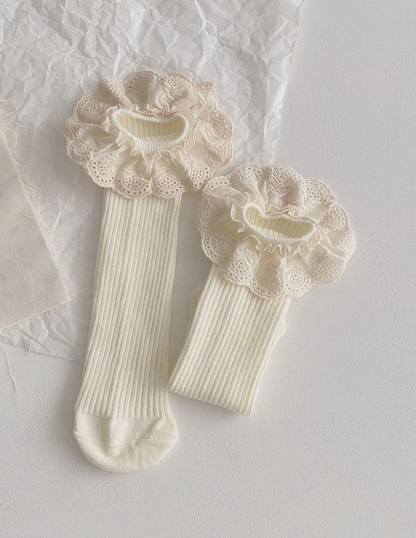 Ruffle Lace Socks | Cream