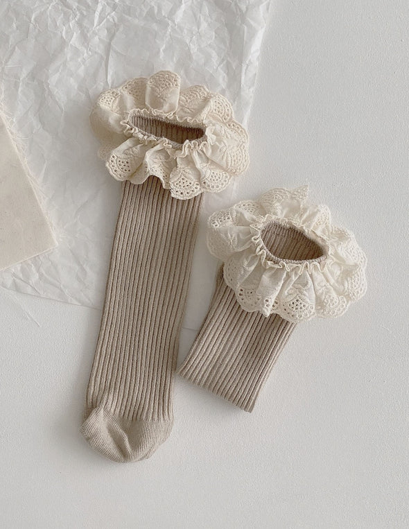 Ruffle Lace Socks | Tan