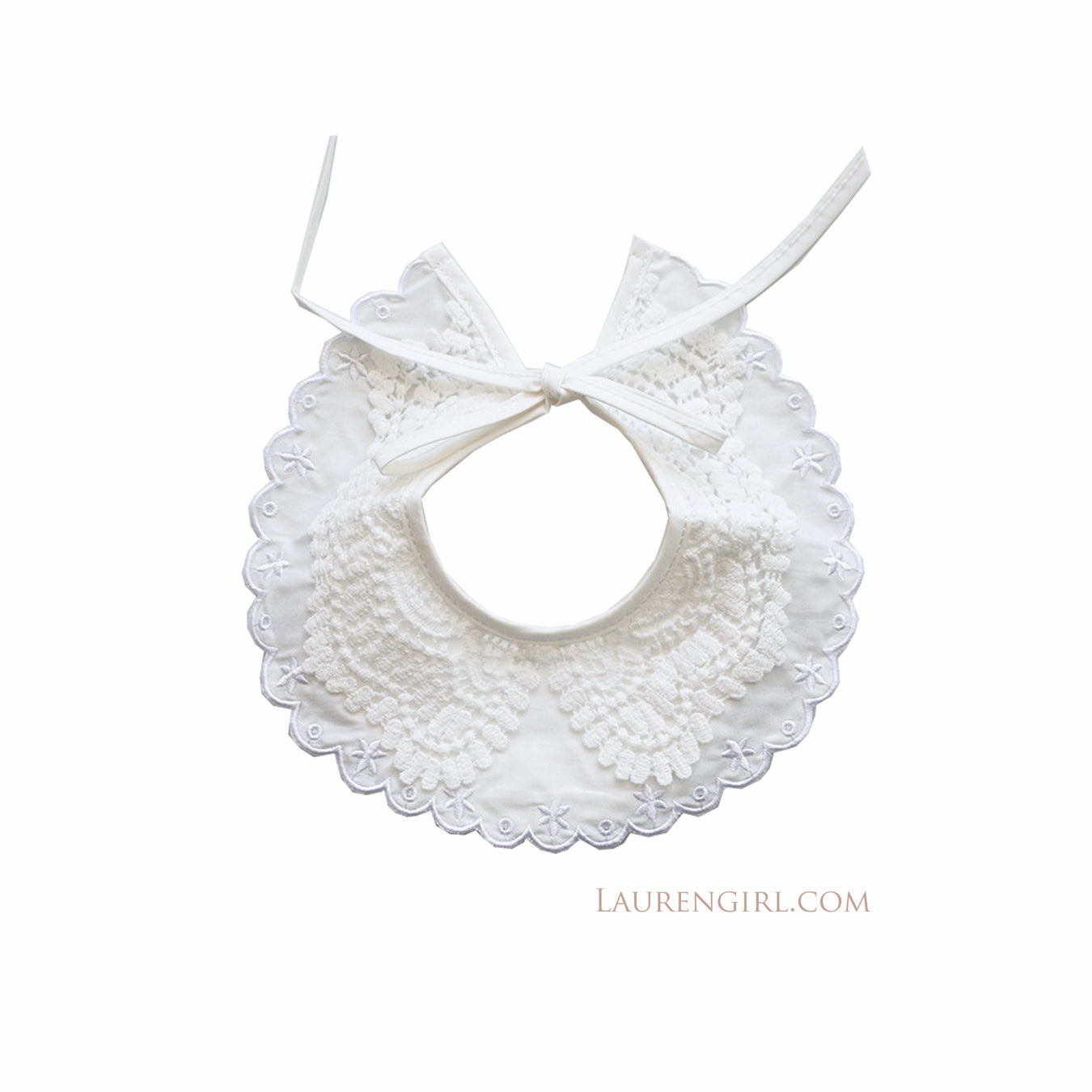 White Lace Collar Bib