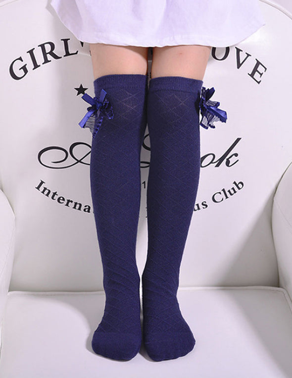 Diamond Weave Over-the-Knee Bow Socks | Navy