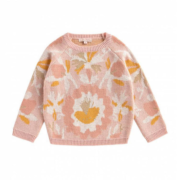 Abstract Floral Girls Pullover Sweater in Pink and Gold